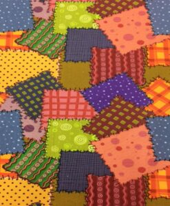Popeline de coton patchwork colorés foncé