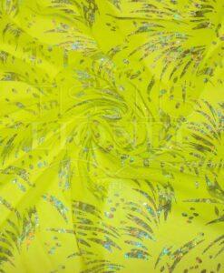 resille lycra jaune fluo pailleté psycho argent hologramme