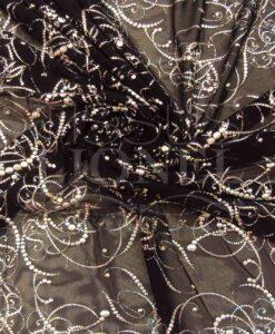 resille lycra noir pailleté arabesque argent hologramme