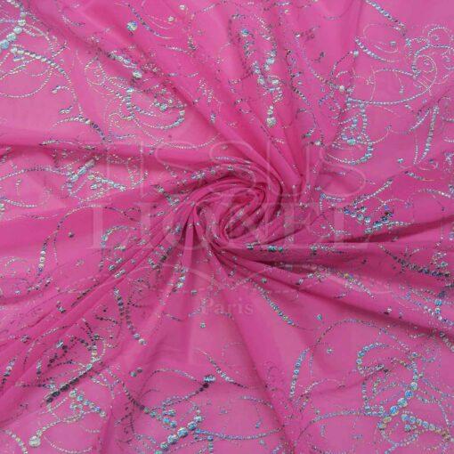 resille lycra rose fluo pailleté arabesque argent hologramme