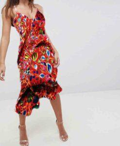 robe 1Tissu microfibre motif jardin printanier rouge coquelicot