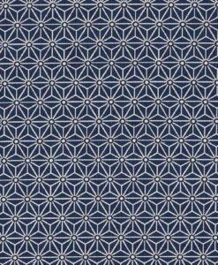 Хлопковая ткань с темно-синим принтом в виде куба