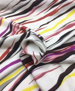 Satin de soie haute couture zèbre multicolors