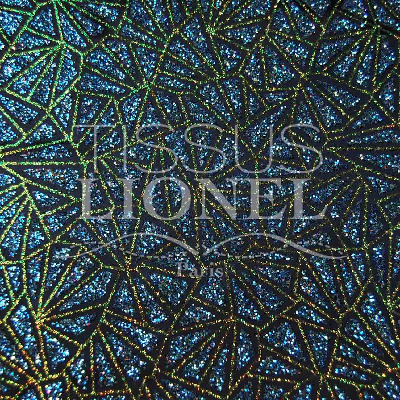 Satin Blue Marine Glitter Turquoise Iridescent Or Lionel Fabrics