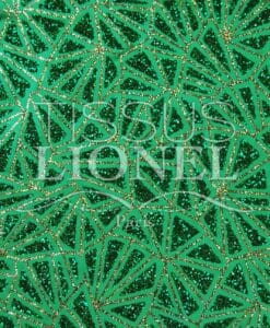 Satin glittery green background glittery gold vertet