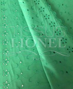 green eyelet fabric