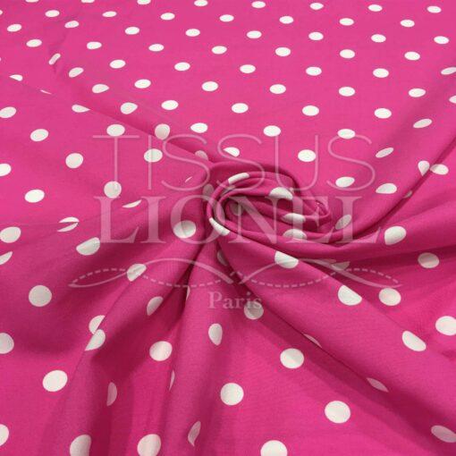 Tissu Burlington fond rose petit pois blanc