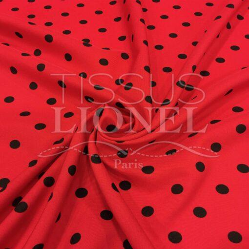 Tissu Burlington fond rouge petit pois noir