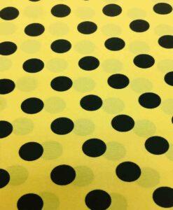 Tissu burlington gros pois noir sur fond jaune