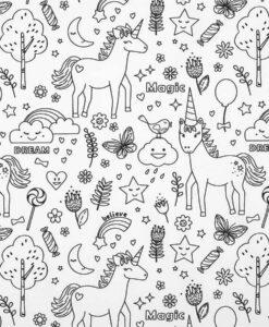 Tissu coton à colorier licorne