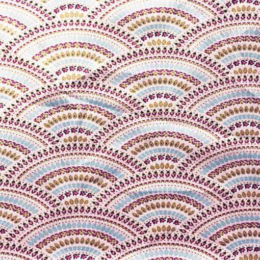 Tissu coton batik Sri lanka écru bois de rose et turquoise