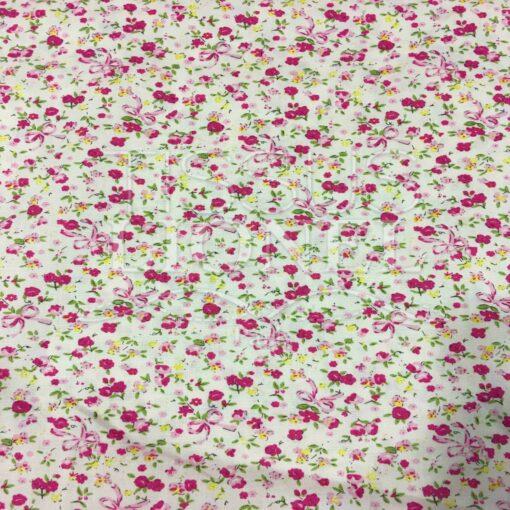 Tissu coton beige rosé motif imprimé fleurs