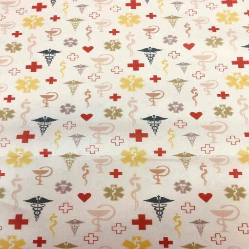 Tissu coton bio motif médecine