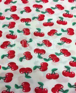 Tissu coton blanc motif imprimé cerise