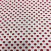 Tissu coton blanc motif imprimé pois rouge