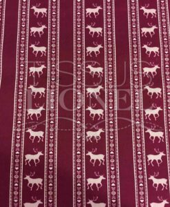 burgundy cotton printed fabric pattern deer