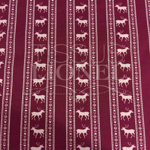 Tissu coton bordeaux motif imprimé cerf