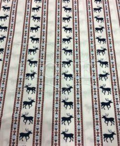 tessuto di cotone motivo cervi stampato ecru