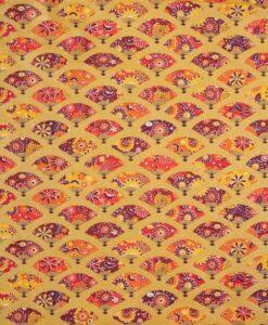 Японский веер из хлопковой ткани золото