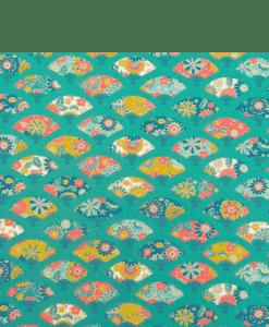 Tissu coton éventail japonais