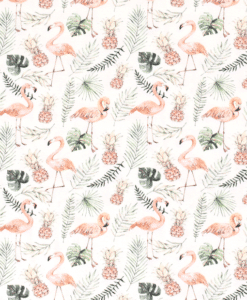 Tissu coton flamant rose printemps