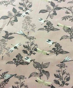 Tissu coton fleur de chine bois de rose clair1