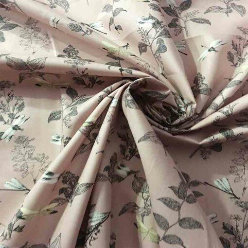 Tissu coton fleur de chine bois de rose clair