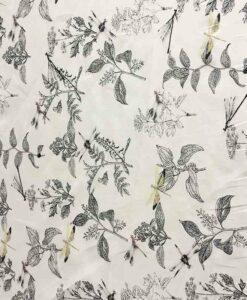 Tissu coton fleur de chine écru