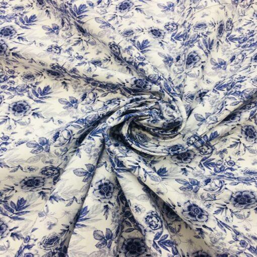 Tissu coton fleuris botanic bleu 2