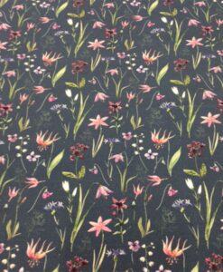 Tissu coton fleuris jardin d'été bleu 2