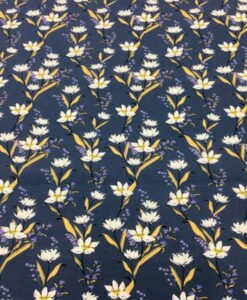 Tissu coton fleuris marguerite bleu