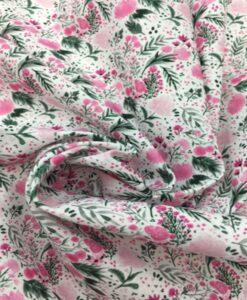 Tissu coton fleuris romance rose