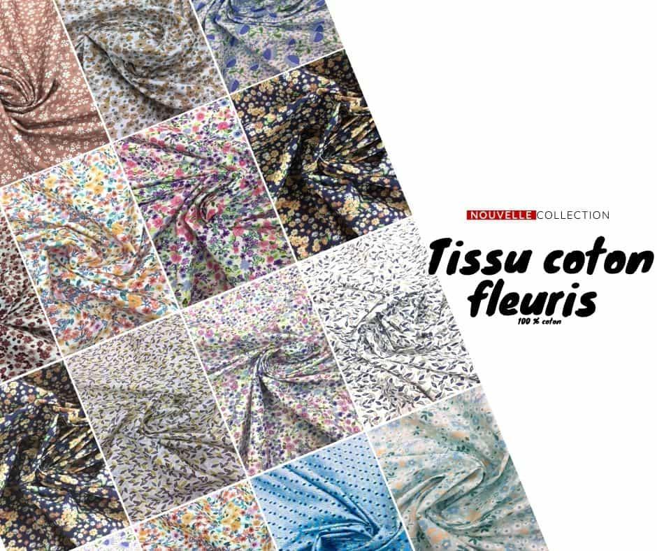 Tissu coton fleuris