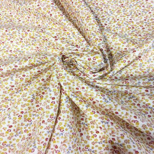 Tissu coton fleurs d'automne blanc