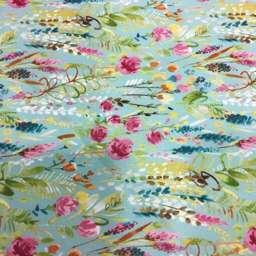 Tissu coton fleuve de fleurs