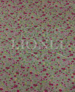 Tissu coton gris foncé motif imprimé fleurs