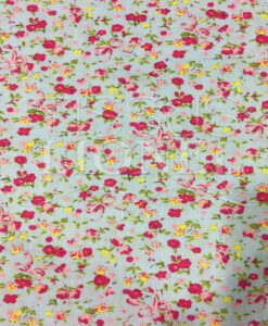 gray cotton printed fabric flowers pattern