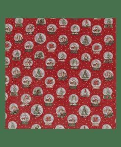 Tissu coton imprimé boule de neige rouge