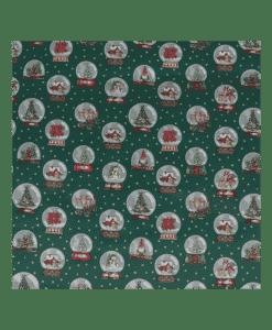 Tissu coton imprimé boule de neige vert