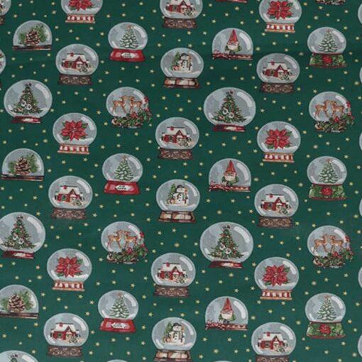 tissu-coton-imprime-boule-de-neige-vert