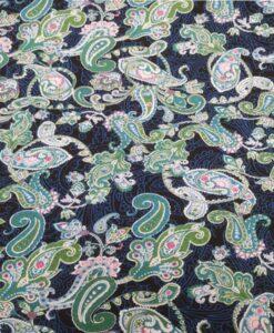 Tissu coton imprimé cachemire bleu