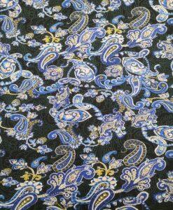 Tissu coton imprimé cachemire émeraude