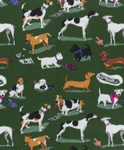 Tissu coton imprimé chien kaki