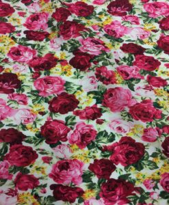 cotton flower big pink printed on white fabric