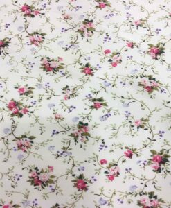 floral printed cotton fabric small pink on ivory background