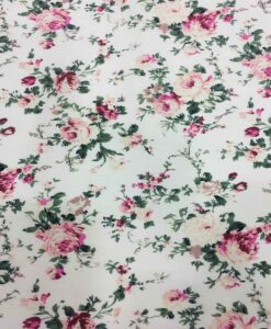 Tissu coton imprimé fleuris rose sur fond blanc