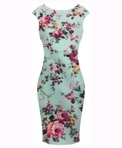 Tissu coton imprimé fleuris rose sur fond turquoise