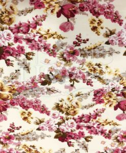 Cotton fabric printed pink flowered paths
