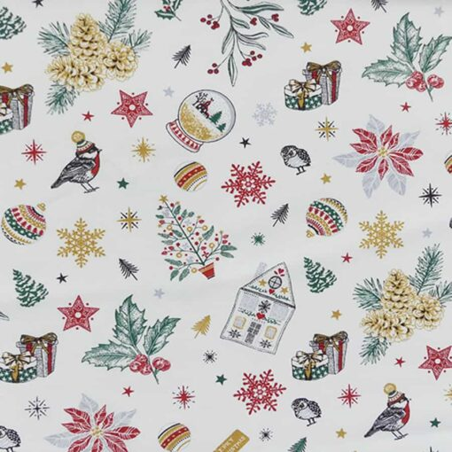 Tissu coton imprimé flocon de neige blanc