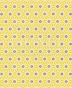 Tissu coton imprimé motif cube géométrique jaune